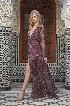 Sexy, yet elegant paisley plunge maxi dress with adjustable waist. Deep…