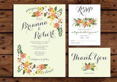 Printable Wedding Invitation Bundle // Spring by SomebodyLovedShop, $38.00