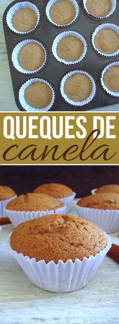 Going to receive friends at home and want to prepare a quick and simple snack? We have a great suggestion for you these cinnamon muffins are delicious very easy to prepare and have excellent presentation! Your friends will love it Apple Recipes, New Recipes, Sweet Recipes, Cake Recipes, Food Cakes, Portuguese Recipes, Portuguese Food, Coconut Muffins, Cinnamon Muffins