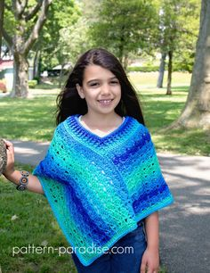 """Free crochet pattern for poncho wrap in sizes 18"""" doll to adult by Pattern-Paradise.com #crochet #freepattern #patternparadisecrochet #poncho"""