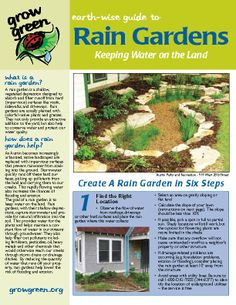 Rain Garden: https://www.austintexas.gov/sites/default/files/files/Watershed/growgreen/raingarden_factsheet.pdf