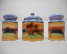 Antique Hand Painted Porcelain Condiment Set Salt Pepper Mustard Japan