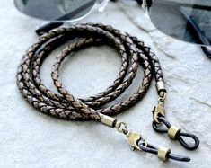 Tobacco Leather Eyeglass Chain for Men Rustic Leather Glasses Leather Dye, Braided Leather, Leather Chain, Brown Leather, Leather Cord, Leather Lanyard, Men Eyeglasses, Eyeglass Holder, Chains For Men