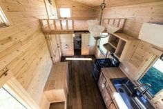 All wood interior give a cool cabin feel on the inside - Roanoke by Tumbleweed Tiny House