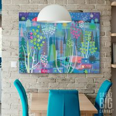"""Brilliant, bold art never fails to catch the eye. Featuring """"Blue Night Forest"""" canvas print by Charles Hacker. See more wall art at GreatBIGCanvas.com"""