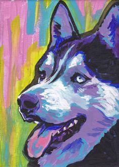 Siberian Husky art print pop dog art bright by BentNotBroken, $22.99