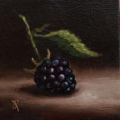 Little Blackberry, J Palmer Original oil still life mini Art
