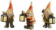 Gift Craft 12-Inch Poly Resin Gnome Statues with Glow in The Dark Lanterns, Smal