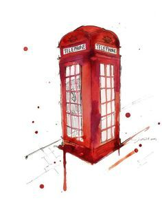 I can't wait to visit London Watercolor Travel Illustration - London's Calling Travel Illustration, Watercolor Illustration, Watercolor Paintings, Watercolours, London Illustration, Painting Art, Wallpaper Fofos, Telephone Booth, London Calling