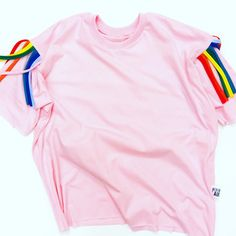 Rainbow pink t shirt - colourful and fun and perfect to brighten even the drabbest day! Colour yourself happy! By London clothing brand: Aesthetic Laundry London Clothing Brands, Laundry, Pajama Pants, Rainbow, Colour, Tees, Happy, Sleeves, Fun