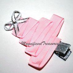 Pink Christmas Tree Ribbon Sculpture Hair Clip or Pin. $5.00, via Etsy.