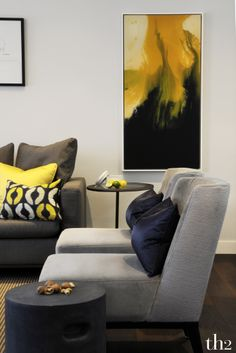 gray and yellow living room Home Interior, Modern Interior Design, Interior Design Inspiration, Room Inspiration, Interior Decorating, Home Decor Wall Art, Beautiful Interiors, Apartment Living, Home And Living