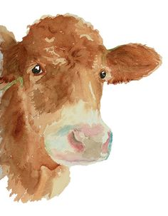 Cow Art Print from Original Watercolor Cow Wall Art Country Life Decor Rranch Style Decor Calf Portrait Giclee Print Farm Animal Cow Painting, Texture Painting, Painting & Drawing, Watercolor Animals, Watercolor Print, Watercolor Paintings, Portrait Paintings, Watercolor Ideas, Watercolours