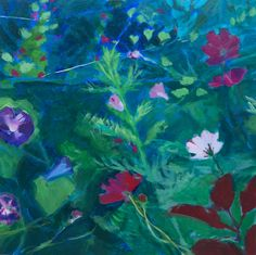 Cosmos and Morning Glories  original fine art painting by wantknot
