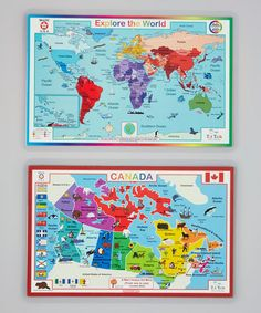 Take a look at this Canada Map & World Map Activity Place Mat Set by Tot Talk on #zulily today! $9 !!