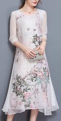 For Only US$ 38.87 Vintage Casual Women Half Sleeve Print Dresses