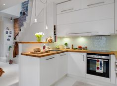 Apartment, L Shape Ideas Kitchen Furniture Modern Island Designs Plans With French Country Kitchen Lighting On Small Apartment Kitchen Design Ideas: Youthful Small Apartments Interior Design Ideas 2014 in Gothenburg Kitchen Cabinets Decor, Farmhouse Kitchen Cabinets, Kitchen Cabinet Design, Kitchen Furniture, Kitchen Interior, Kitchen Dining, Timber Kitchen, Kitchen Worktop, Island Kitchen