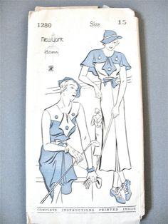 1930s New York 1280 Vintage Dress Sewing Pattern by Fancywork