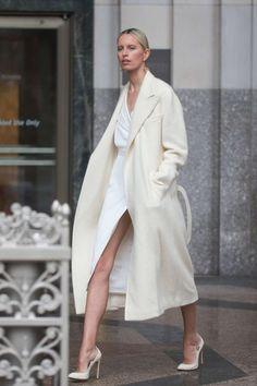 Karolina Kurkova on a photo shoot on a rainy day in New York