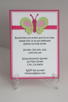 Pink/Green Butterfly Invitation