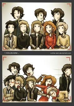 Superwholock on the top from left to right sam, 11, sherlock on the bottom from left to right castiel , dean, rory, amy, john