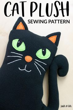 Easy and free cat stuffed animal sewing tutorial and pattern. Stuffed Animal Cat, Stuffed Animal Patterns, Sewing Patterns Free, Free Sewing, Simple Embroidery, Embroidery Stitches, Easy Sewing Projects, Sewing Tutorials, Fabric Pen