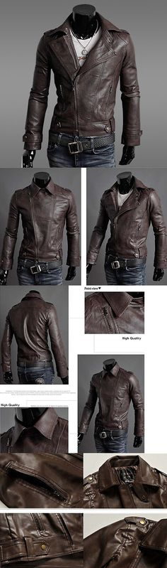 Men Coats And Jackets: Fashion Men S Lambskin Leather Jacket Black Slim Fit Biker Motorcycle Jacket -> BUY IT NOW ONLY: $42.86 on eBay!