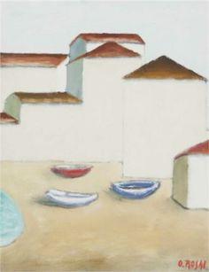 Barche sulla spiaggia - Ottone Rosai