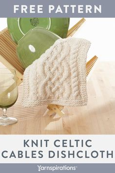 This free knit dishcloth pattern features a stunning Celtic-inspired cable design worked up with Lily Sugar'n Cream, a 100% cotton worsted weight yarn. Use it on your counter, with dishes or on the table. #Yarnspirations #LilySugarNCream #FreeKnittingPattern #KnitDishcloth Knitted Washcloth Patterns, Knitted Washcloths, Dishcloth Knitting Patterns, Crochet Dishcloths, Loom Knitting, Knit Or Crochet, Knitting Stitches, Knit Patterns, Knitting Ideas