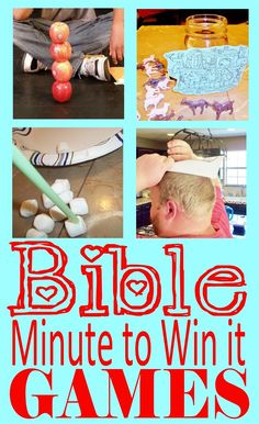 HollysHome - Church Fun: Minute to Win it - Old Testament Bible Style Games - The B-I-B-L-E Preschool Children's Ministry Curriculum Ideas - Girls Sunday School Activities, Youth Activities, Church Activities, Sunday School Crafts, Kids Church Games, Summer Activities, Indoor Activities, Youth Group Crafts, Kids Church Lessons