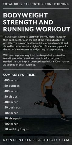 What Is The Connection Between Nutrition And Health? - - What Is The Connection Between Nutrition And Health? Running For Time CrossFit Bodyweight Strength and Running Workout – Running on Real Food Workouts Burpees, Squats And Lunges, Air Squats, Running Workouts, At Home Workouts, Extreme Workouts, Wods Crossfit, Hiit Bodyweight Workout, Strength And Conditioning Workouts