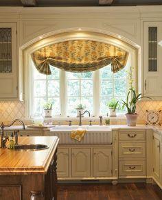 Sencilla cortina cocina estilo rustico