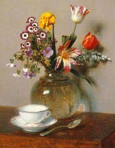 アンリ・ファンタン=ラトゥール【花瓶の花とコーヒーカップ】 - 絵画(油絵複製画)販売「アート名画館」 - 祝い事のプレゼントにも大人気!