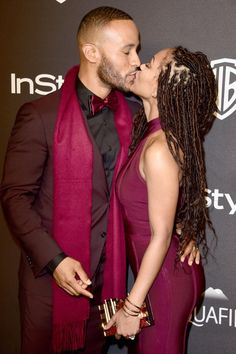 Actress Meagan Good and beau DeVon Franklin locked lips on the red carpet before attending the InStyle and Warner Bros. 73rd Annual Golden Globe Awards Post-Party at The Beverly Hilton Hotel on Jan. 10, 2016 in Beverly Hills, California.