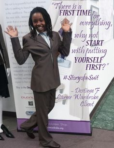 Destinee received her 1st suit and is making a new start. You can help with your donation tohttp://www.crowdrise.com/careerwardrobe-jr #JobRaising #StoryofaSuit