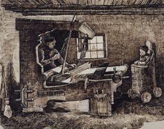Wever, en baby in een kinderstoel. Gogh, Vincent van - januari - februari 1884
