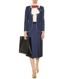 Gucci - Blazer bleu en soie et laine mélangées