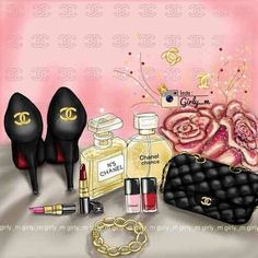 "its-mademoiselle-love: "" …Girlie… "" Girly M, Chanel N5, Coco Chanel, Perfume, Chanel Chance, Chanel Wall Art, Chanel Canvas, Teen Girl Fashion, Fashion Art"