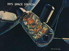 1975 Space Station Design.  #SpaceStations  #ArtificialWorlds