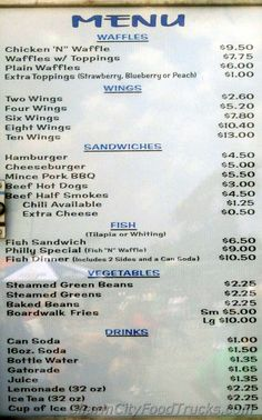 Chicken And Waffles Baltimore Food Truck Menu