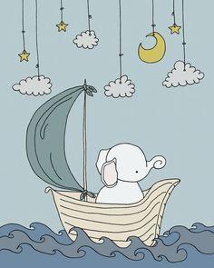 Elephant Nursery Art  Elephant Dream Sail  by SweetMelodyDesigns