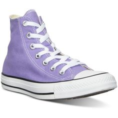 Converse Unisex Chuck Taylor Hi Casual Sneakers from Finish Line ($60) ❤ liked on Polyvore featuring shoes, sneakers, frozen lilac, converse shoes, vintage shoes, rugged shoes, vintage footwear and converse trainers