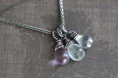 Gemstone Necklace Multi Gemstone Moss Aquamarine by DezineStudio