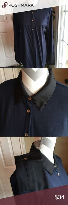 Ann Taylor multi media blouse Navy and black accents.  Stunning!  Silky black collar and at wrists.  Sheer black inset at each wrist with gold tone buttons. Ann Taylor Tops Button Down Shirts
