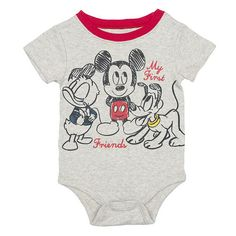 """Disney Baby Boys Heather Grey """"My First Friends"""" Mickey Mouse, Donald Duck, and Pluto Short Sleeve Bodysuit - Babies R Us - Babies """"R"""" Us"""