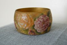 Items similar to Victorian Roses Decoupage Hand Painted Wooden Bangle Bracelet on Etsy Bangle Bracelets, Wooden Cat, Cat Jewelry, Decorative Bowls, Decoupage, Roses, Victorian, Hand Painted, Rose