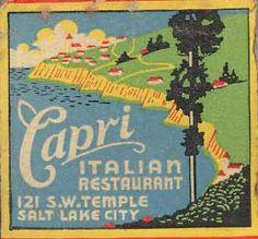seaside vintage matchbooks   Matchbook - Salt Lake Capri Italian Restaurant   Flickr - Photo ...