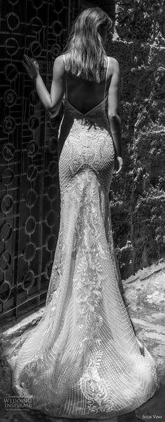 julie vino 2018 bridal sleeveless spaghetti strap full embellishment elegant sexy fit and flare sheath wedding dress open v back medium train (65) mv bv