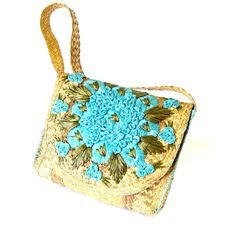 Vintage Green and Aqua Straw and Raffia Handbag