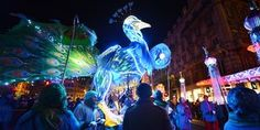 """People look at """"The Sarabande of Magnificent Animals"""" on December 6, 2012 in Lyon, central eastern France, during the 14th edition of the """"Fete des Lumieres"""" (Festival of Lights), a secular version of a religious tradition devoted to Virgin Mary and dating back 152 years ago.     AFP PHOTO/PHILIPPE DESMAZES 